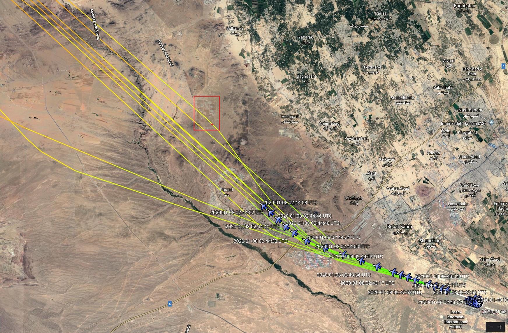 Ruta del Vuelo PS752 el 8 de enero en comparación con días anteriores